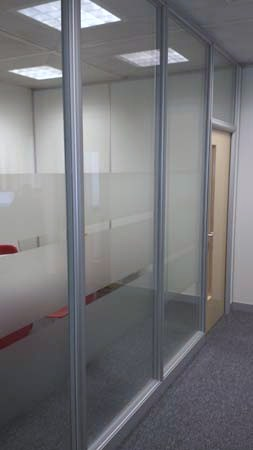 Office Partition installed in Waterloo Road, London SE1. Tenon Fire & Sound System