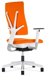 Nowy Styl 4Me Task chair in white with orange upholstery