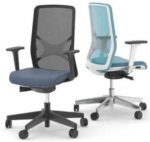2 ergonomic synchronous mechanism mesh backed chairs, one with black frame and mesh back and the other with a sky blue seat pad and mesh back.