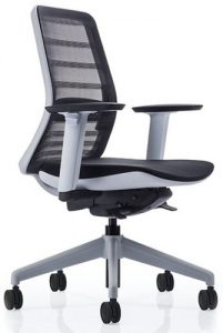 Koplus Tonique office task chair with a white frame and base and black upholstery