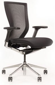 Techo Sidiz T50 Task Chair in black with polished metal base