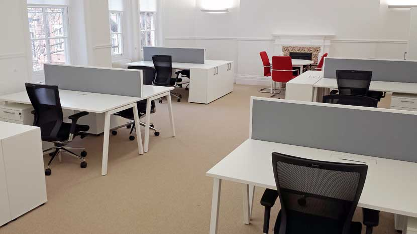 Office in Belgravia newly referbushed with carpets and desks