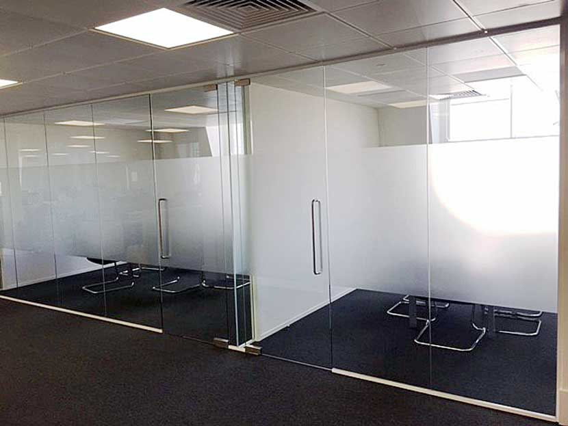 Glass fronted meeting rooms at solicitors offices