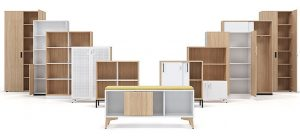 Storage cupboard selection of different sizes and types
