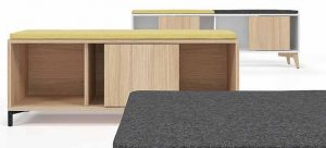 Sit-on low cupboards with coloured cushioned seat pads