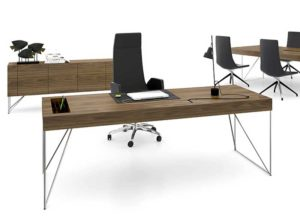 Executive Furniture with Chromed Frames and Real Walnut Wood Veneer Surfaces