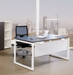 Executive Desk with white 'O' shaped metal leg frame and dark walnut worktop. Also features a white perspex modesty panel