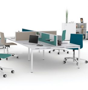 The Octopus Forty4 bench desk range shown here in a 4 person configuration with white legs and top and green and beige screens