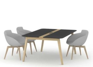 Meeting Table with Black Top and Real Wood Legs and Veneered Panel Instert