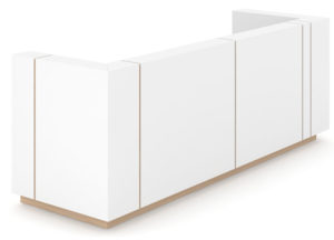 Reception Counter in White with Vertical Wood Strip Inserts