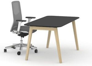 Single Desk with Black Top and Wooden Legs