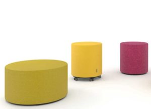 Simple low cost Circular Upholstered Pouff office soft seating