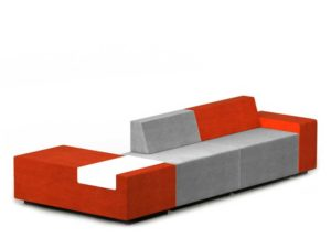 Basic modular upholstered office breakout seating with red and light grey colour combination