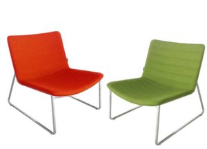 Simple yet comfortable lounge seating for office informal meeting area, shown here in red and green wool upholstery