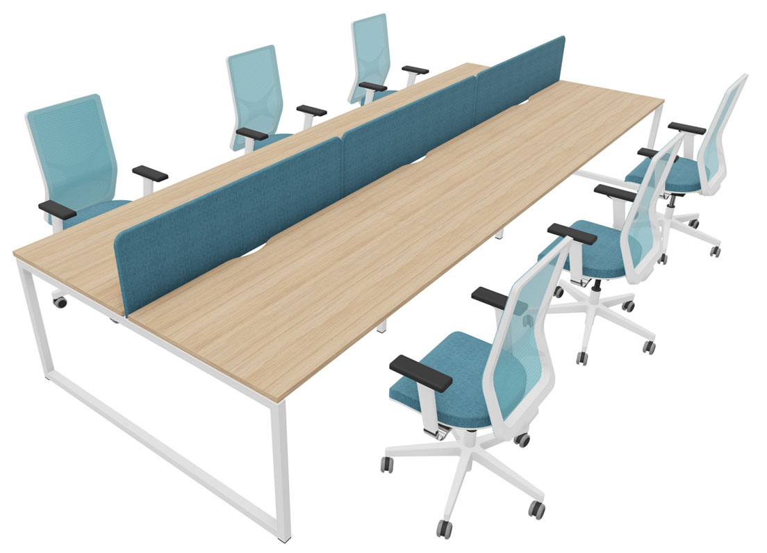6 position bench desk with screens and 6 chairs for £2,500 + VAT