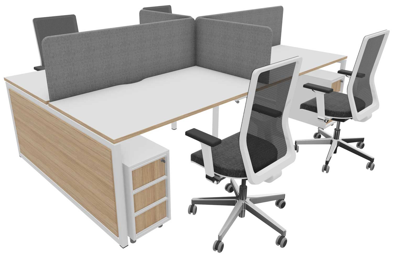 4 person bench desk with chairs, pedestals and screens for £2500 + VAT
