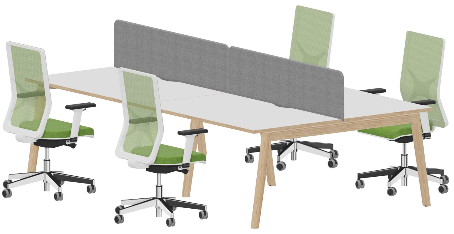 A 4 person bench desk including 2 fabric screens and 4 ergonimic task chairs for £2,500 + VAT