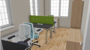 CAD produced Photo Realistic Image of Octopus Home Office Furniture Installation
