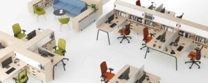Desks with integrated localised personal storage