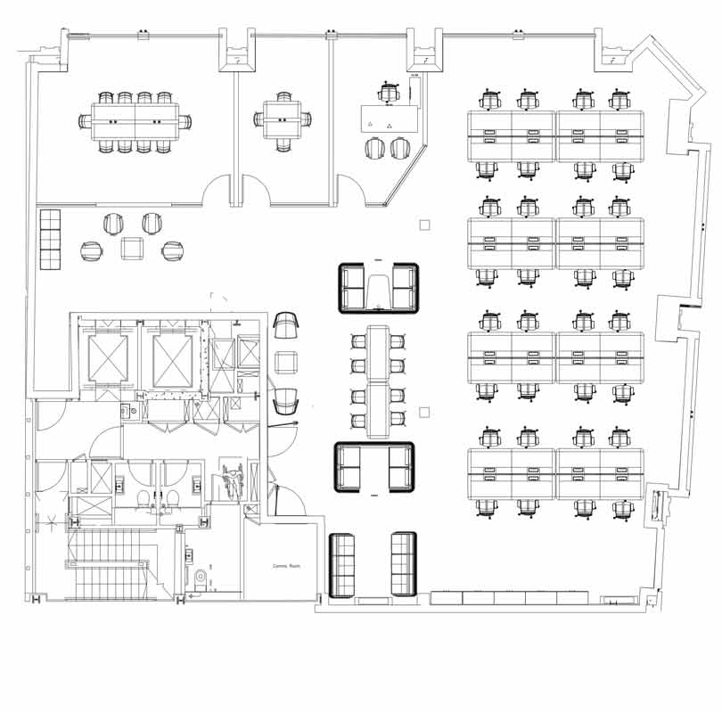 A typical 2 dimensional plan view office space plan in black and white