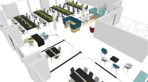 3 dimensional space plan showing desks and soft furniture in colour