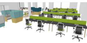 3 dimensional photorealistic spaceplan of desks and soft furnishing meeting pods