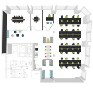 A top-view office space plan with perspective in colour